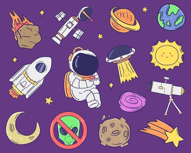 Ilustración de colección de espacio dibujado a mano.