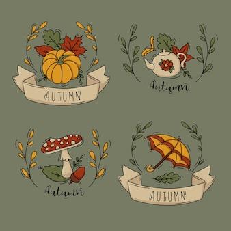Ilustración de la colección de etiquetas de otoño