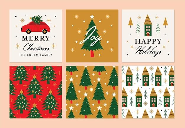 Ilustración de colección de etiquetas y pegatinas de navidad