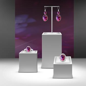 Ilustración de colección de joyas con gemas rojas en exhibición