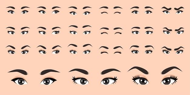 Ilustración de colección de ojos femeninos