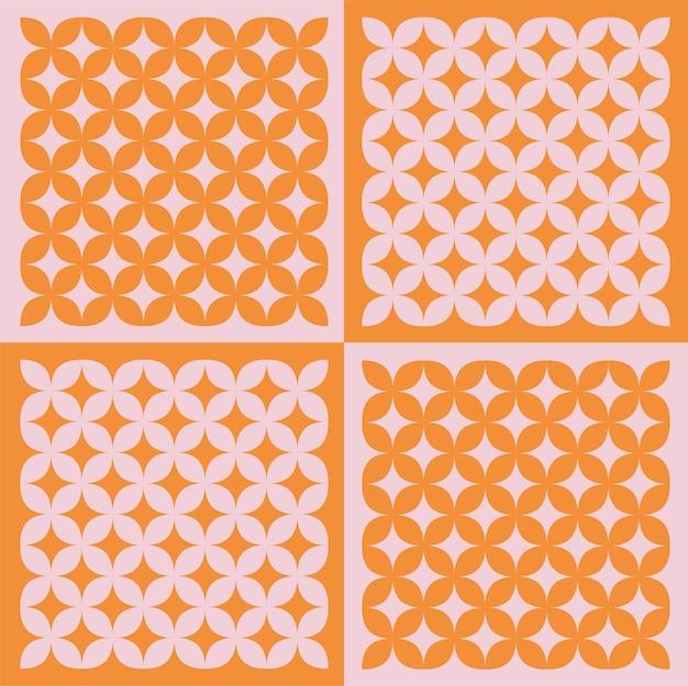 Ilustración de la colección de patrones con textura de azulejos vintage