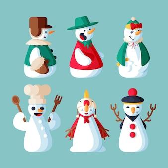 Ilustración de colección de personajes de muñeco de nieve de diseño plano
