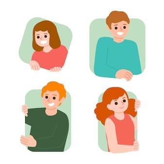 Ilustración con colección de personas asomando