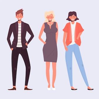 Ilustración de colección de personas seguras