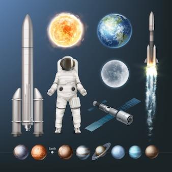 Ilustración de la colección de planetas del sistema solar, traje espacial, naves espaciales y sol tierra