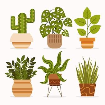 Ilustración de colección de plantas de interior