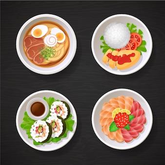Ilustración de colección de platos de comida japonesa de asia