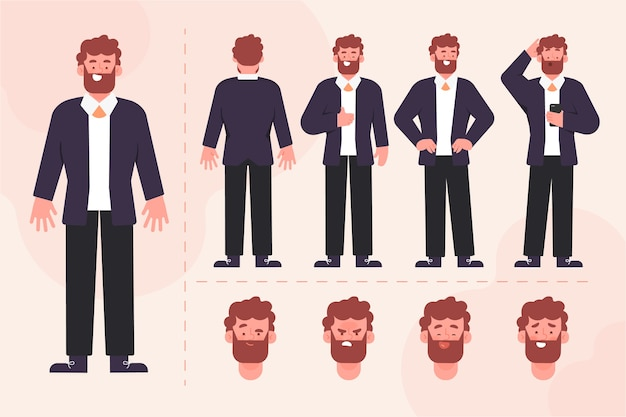 Ilustración de la colección de poses de personajes masculinos