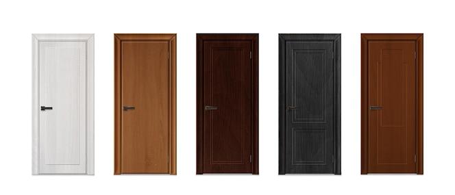 Ilustración de colección de puertas realistas