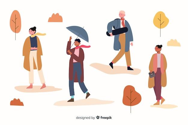 Ilustración de colección de ropa de otoño estacional
