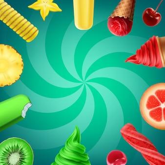 Ilustración de la colección de sabores de helado con frutas y varios helados.