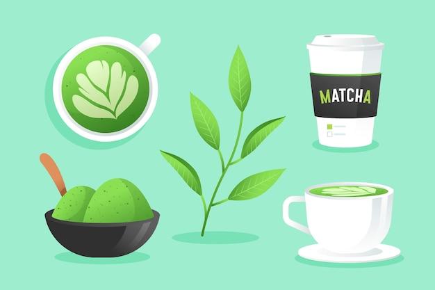 Ilustración de la colección de té matcha