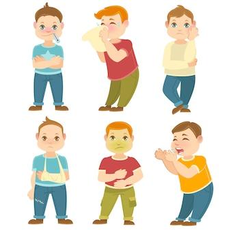 Ilustración de colección de vectores de niños enfermos.