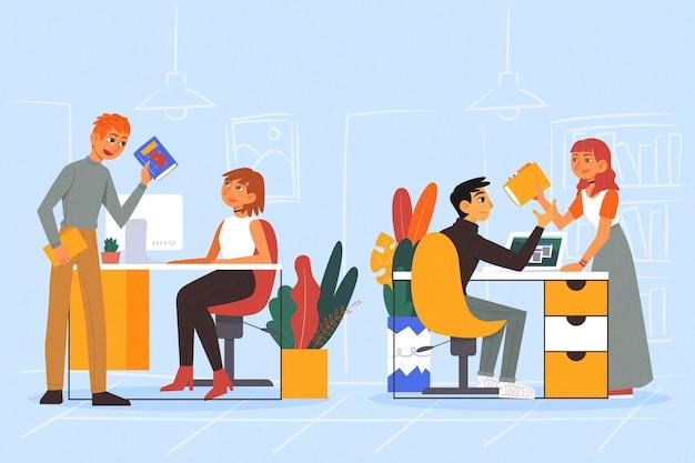 Ilustración de colegas de negocios