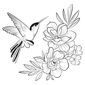 Ilustración de un colibrí. ave voladora estilizada. arte lineal