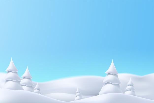 Ilustración de colinas nevadas de invierno realista con árboles en un día brillante