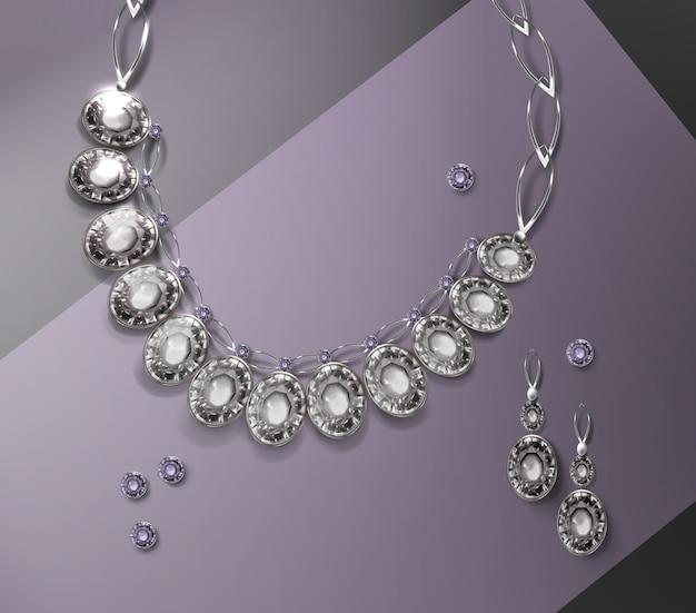 Ilustración de collar y par de aretes con piedras preciosas.