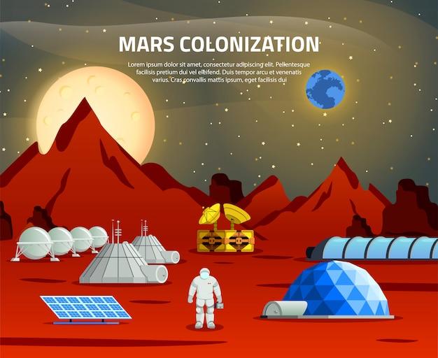 Ilustración de colonización de marte