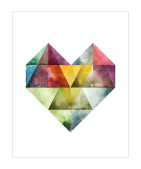 Ilustración de color de agua de corazón abstracto
