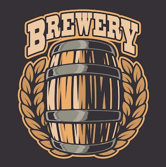 Ilustración de color de un barril de cerveza. todos los elementos de la ilustración y el texto están en grupos separados.