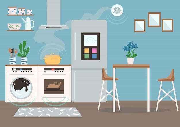 Ilustración de color de cocina inteligente. nevera, lavadora, horno y detector de humo automatizados. interior moderno de dibujos animados de apartamentos con electrodomésticos con control remoto en el fondo