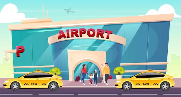 Ilustración de color de diseño plano de aeropuerto
