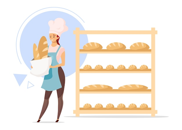 Ilustración de color de diseño plano de panadero femenino
