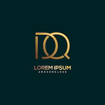 Ilustración de color dorado de lujo con logotipo de letra dq