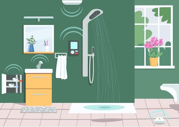 Ilustración de color de ducha inteligente. tecnología de internet, tecnología inalámbrica moderna en la vida doméstica. interior de dibujos animados de baño vacío con electrodomésticos inteligentes en el fondo