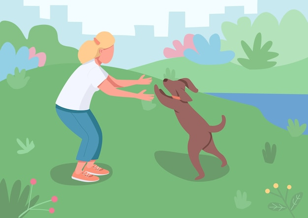 Ilustración de color del dueño de la mascota. mujer adulta caminar perrito afuera en el parque. animal doméstico corriendo para abrazar. mujer juega con personajes de dibujos animados de perros con paisaje de fondo
