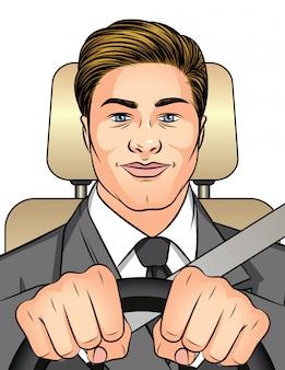 Ilustración de color hombre conduciendo un coche. hombre de negocios que viaja al trabajo en el coche.