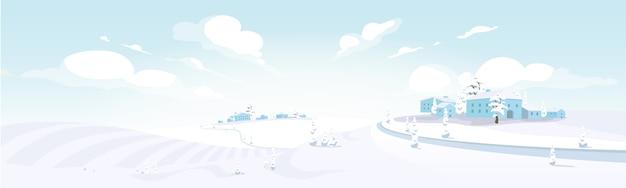 Ilustración de color de invierno en la toscana