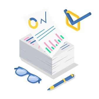Ilustración de color isométrica de análisis empresarial.