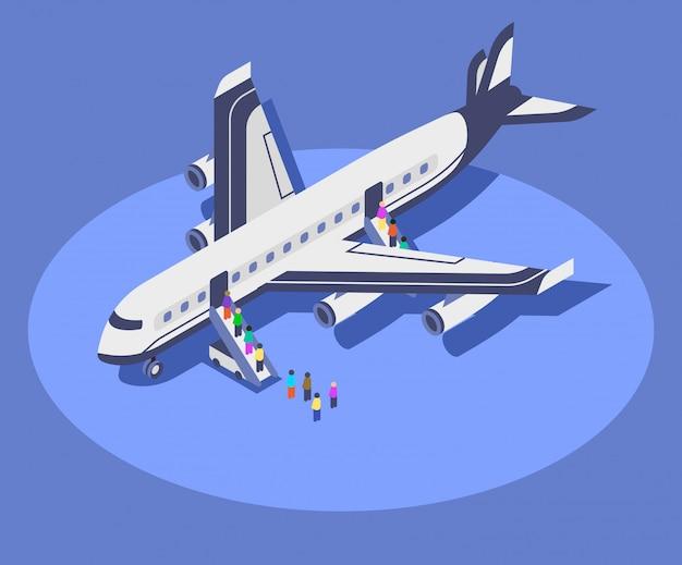 Ilustración de color isométrica de avión comercial.