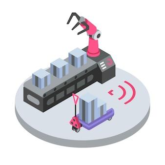 Ilustración de color isométrica del brazo robot mecánico.