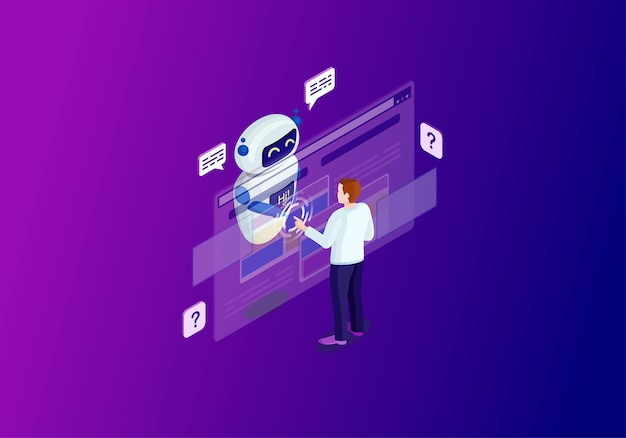 Ilustración de color isométrica de chatbot