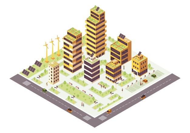 Ilustración de color isométrica de la ciudad ecológica. infografía de ciudad inteligente. producción de recursos renovables. concepto de edificios verdes. medio ambiente ecológico y sostenible. elemento