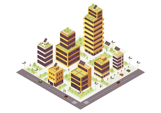 Ilustración de color isométrica de ciudad ecológica