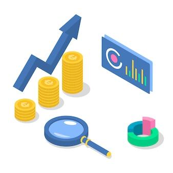 Ilustración de color isométrica de contabilidad y auditoría. aumento de ingresos. crecimiento económico. plan de negocios. análisis de datos y estadísticas. estrategia corporativa. concepto 3d aislado en el fondo blanco