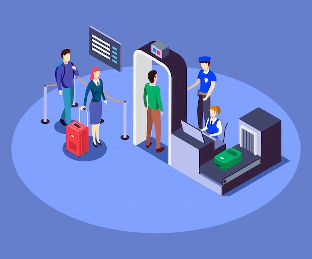 Ilustración de color isométrica de control de seguridad del aeropuerto