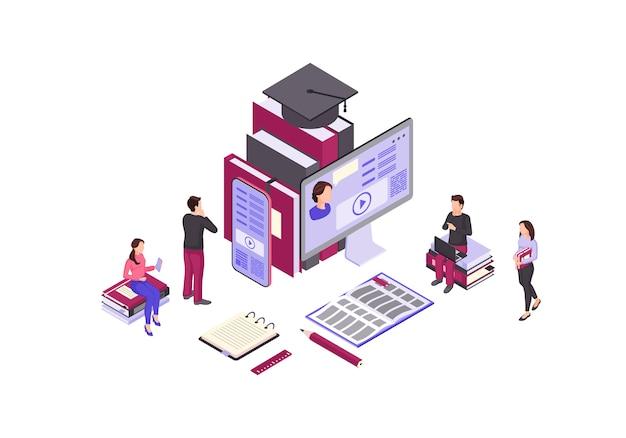Ilustración de color isométrica de educación en línea