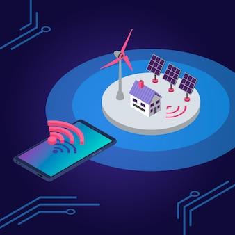 Ilustración de color isométrica de energía renovable. control remoto inalámbrico de fuente de electricidad ecológica. panel solar de casa inteligente y concepto 3d de molino de viento aislado sobre fondo azul.