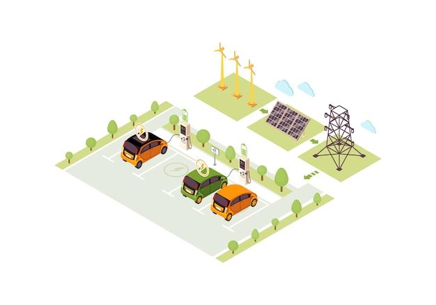 Ilustración de color isométrica de la estación de carga del vehículo eléctrico