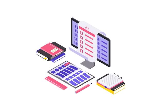 Ilustración de color isométrica de examen en línea