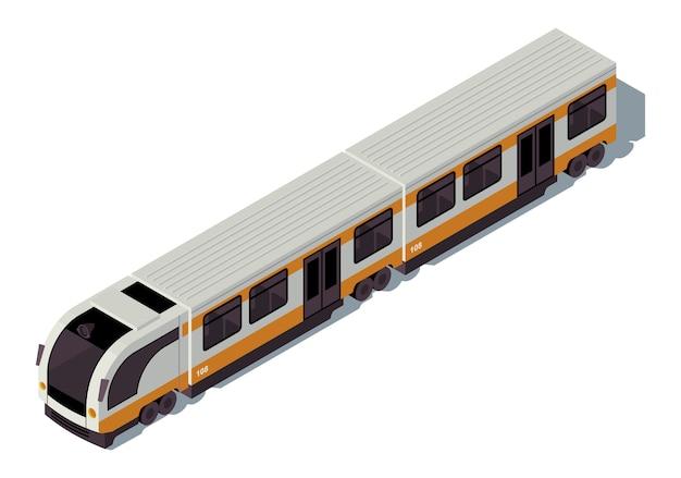 Ilustración de color isométrica de metro. transporte público de la ciudad infografía. transporte urbano ecológico. metro subterráneo. concepto de tren sobre fondo blanco.