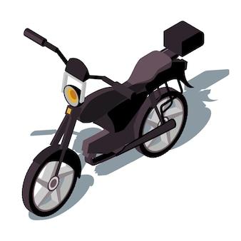 Ilustración de color isométrica de motocicleta.