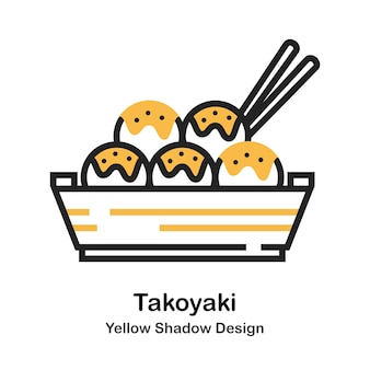 Ilustración de color lineal takoyaki