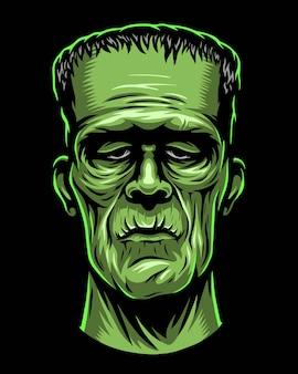 Ilustración en color de monstruo, cabeza de zombie