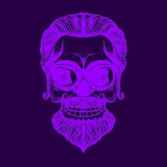 Ilustración de color neón de cara de calavera